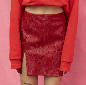 Red Faux Snake Skirt