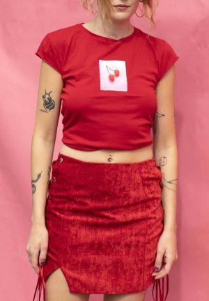 Red Crushed Velvet Skirt
