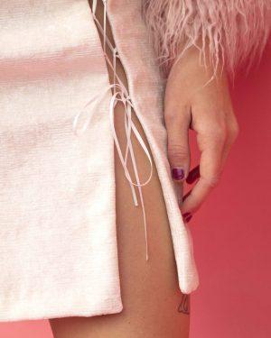 Off-White Crushed Velvet Skirt