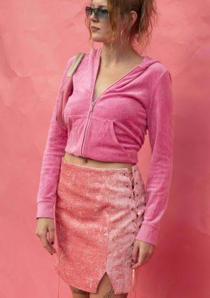 Pink Crushed Velvet Skirt