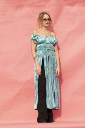 Turquoise Crushed Velvet Dress